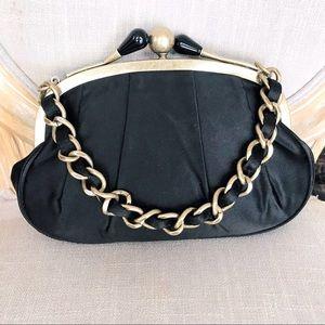 NWT J. Crew sateen purse with braided brass chain